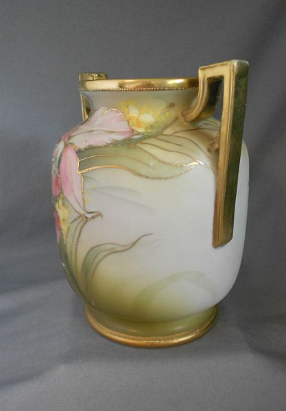 1910s 1920s Antique Nippon Art Deco Hand Painted Orchid Floral Gilt Moriage Handled Vase