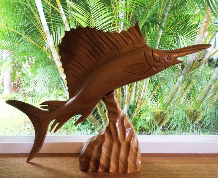 S vintage hand carved marlin swordfish wood sculpture