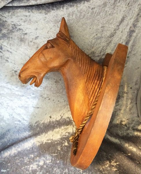 1940s Vintage Carved Wood Sculpture Horse Head Bust On