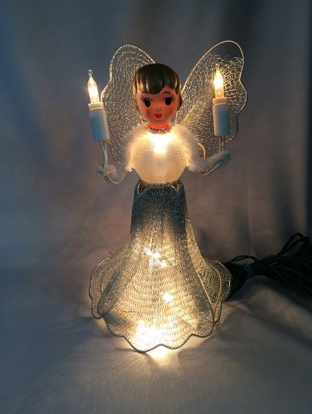 Vintage Angel Tree Topper Christmas Ornament, Silver Mesh Lighted Angel  Christmas Tree Top, Vintage Lighted Tree Toppers, Vintage Angel Ornaments - Vintage Angel Tree Topper Christmas Ornament, Silver Mesh Lighted