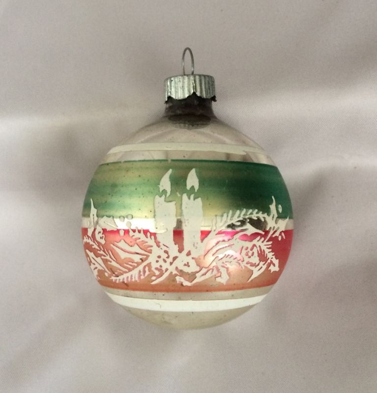 1950s Shiny Brite Stencil Ornament Candles And Holly In