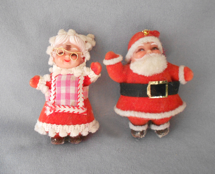 Superb Mrs Claus Christmas Decorations Part - 12: 1970s Vintage Flocked Mr. And Mrs. Santa Claus Figures Christmas Decoration  In X-SOLD GALLERY