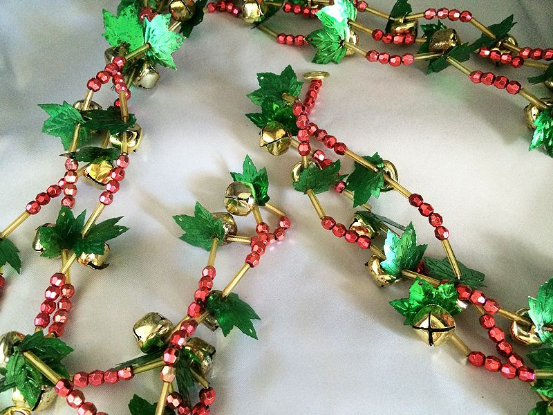 over eight feet of vintage christmas garland with jingle bells red and gold beads - Beaded Christmas Garland