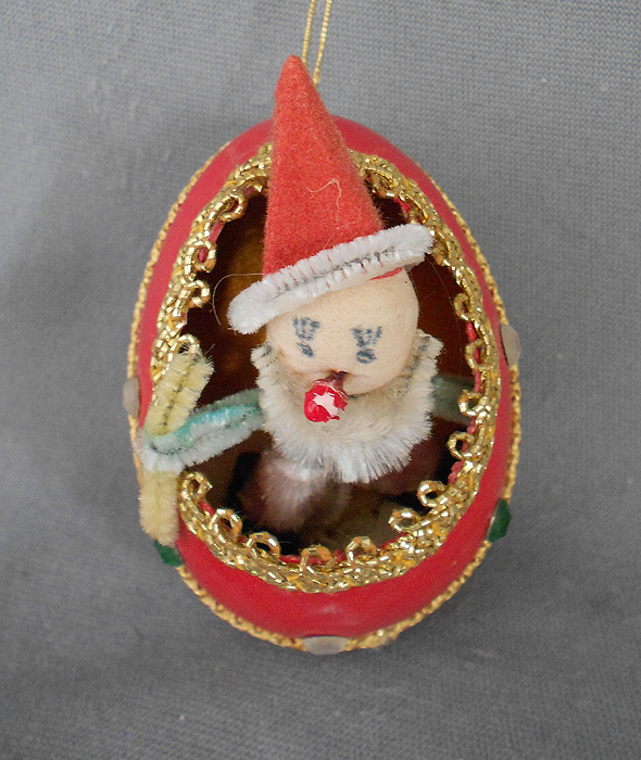 1940s 1950s vintage genuine goose egg diorama christmas ornament spun cotton and chenille clown