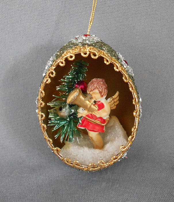 1940s 1950s vintage genuine goose egg diorama christmas ornament angel with bottle brush christmas - Vintage Christmas Decorations 1950s