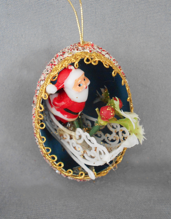 1940s 1950s vintage genuine goose egg diorama christmas ornament modern santa with fancy scrollwork sleigh in - Vintage Christmas Decorations 1950s