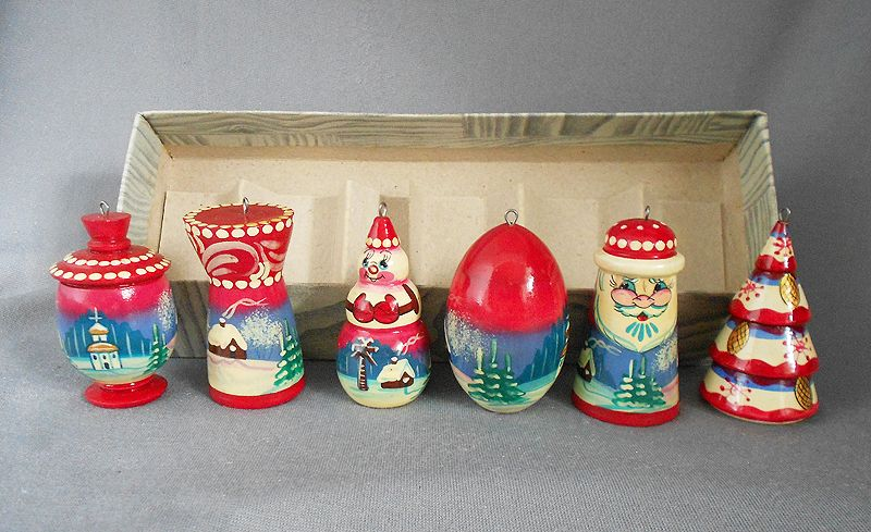Vintage Russian Hand Painted Turned Wood Christmas Ornaments Boxed