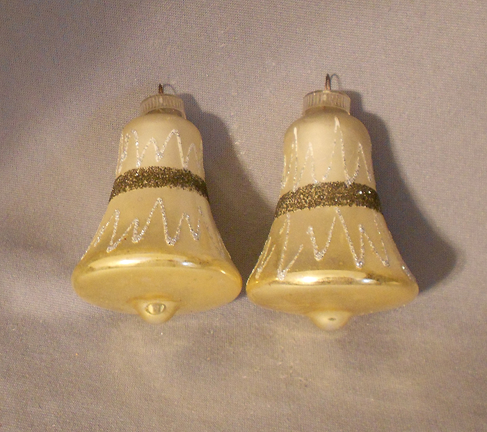S vintage germany silver and gold bells blown glass