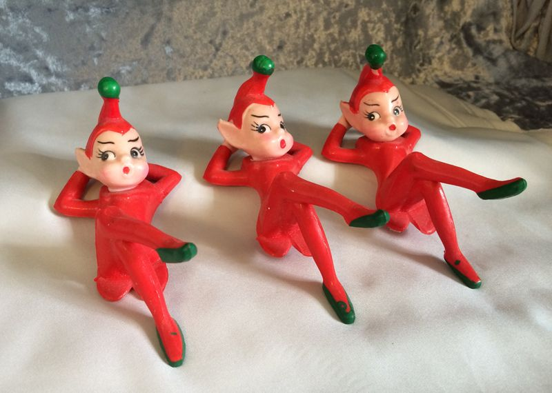 Vintage Red Rubber Reclining Christmas Pixie Elves, Set of Three ...