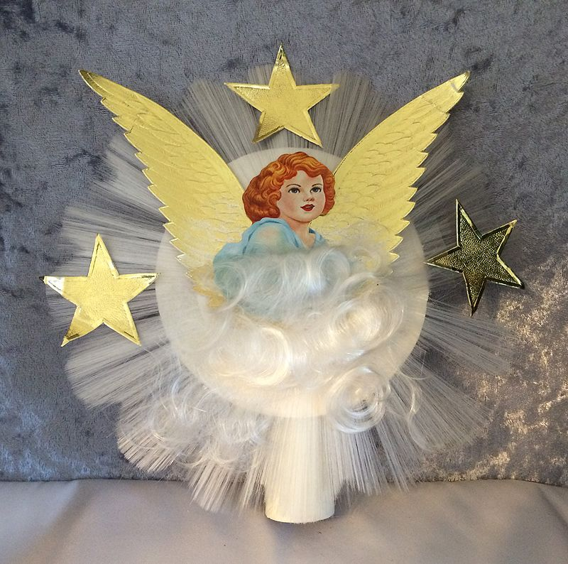 Vintage 1950s Spun Glass Scrap Angel With Foil Wings Christmas Tree Topper In X Sold Gallery
