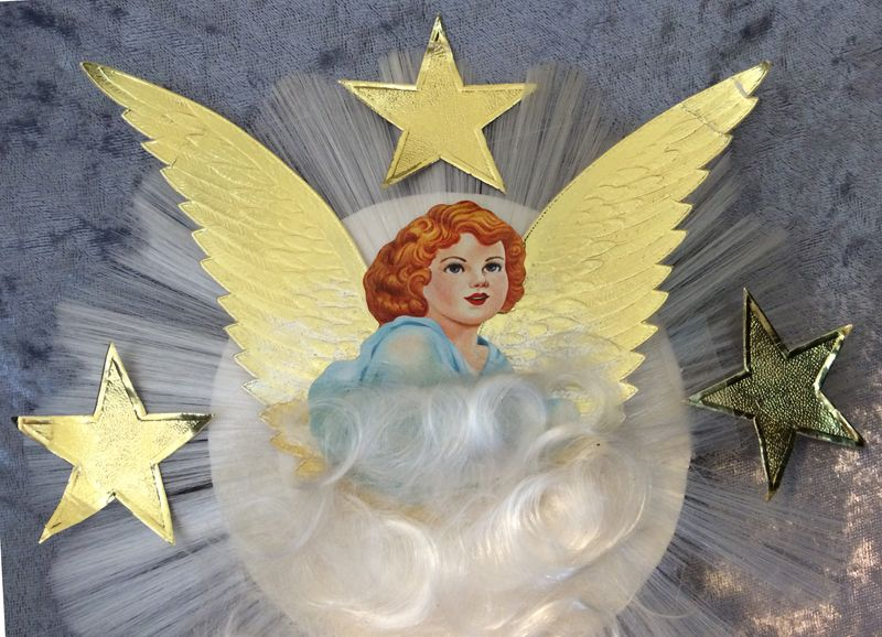 Vintage 1950s Spun Glass Scrap Angel With Foil Wings