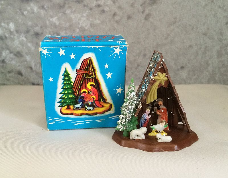 Christmas tree decorations silver and gold - 1960s Vintage Plastic Dollhouse Miniature Manger Nativity