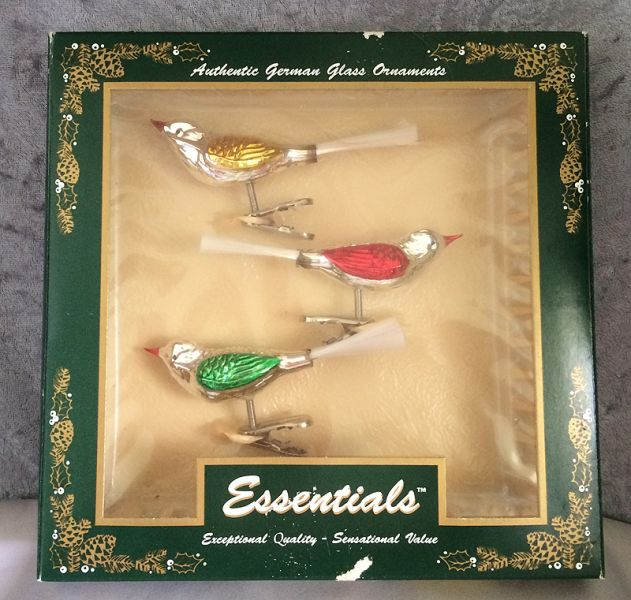 vintage germany mercury glass birds clip on christmas ornaments in original box in x