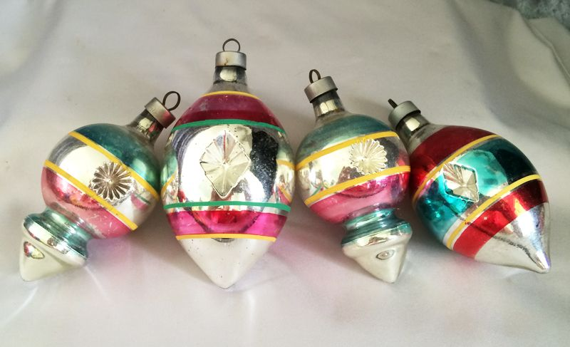 1940s vintage usa premier silver stripe double indent mercury glass christmas ornaments set of four in
