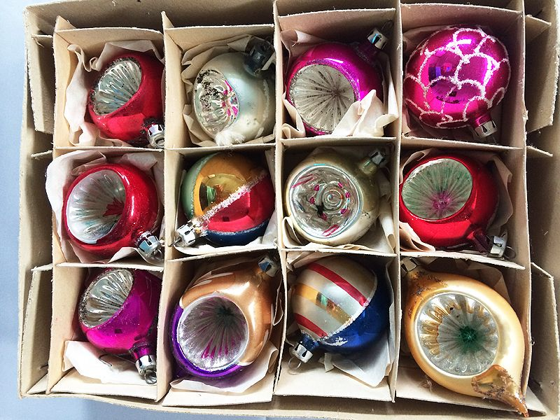 vintage poland dozen blown glass indent christmas ornaments in original box 1930s 1940s in - 1940s Christmas Decorations