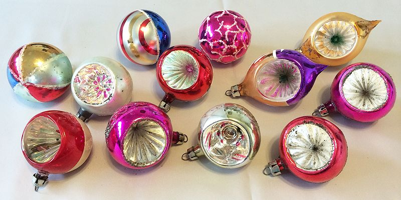 Vintage Poland Dozen Blown Glass Indent Christmas Ornaments