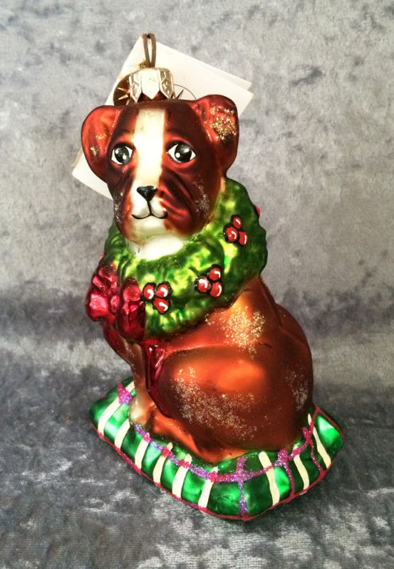 1999 Retired Christopher Radko 'Boxer Bailey' Blown Glass Dog Christmas  Ornament, Hand Painted in Poland in ... - 1999 Retired Christopher Radko 'Boxer Bailey' Blown Glass Dog