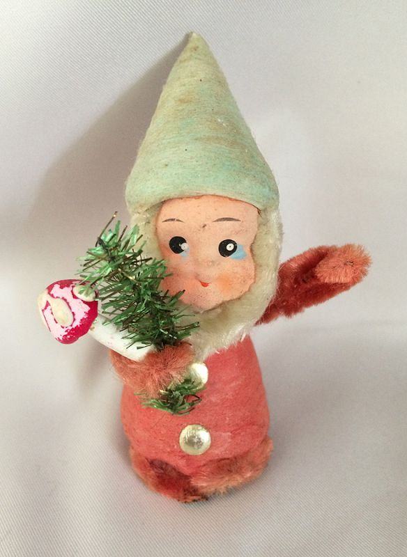1920s antique vintage spun cotton christmas elf pixie german hand painted paper mach gnome elf - Vintage Christmas Decorations