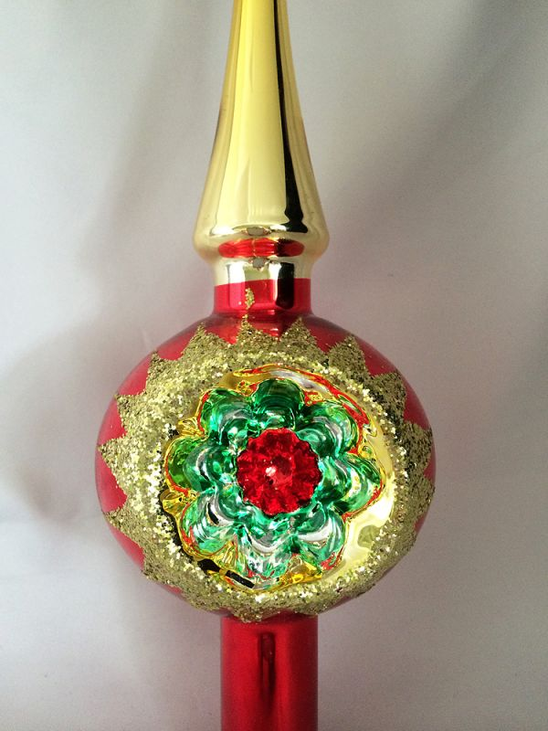 Iob Vintage German Glass Indent Tree Topper Christmas Ornament Red Gold Starburst Reflector Christmas Tree