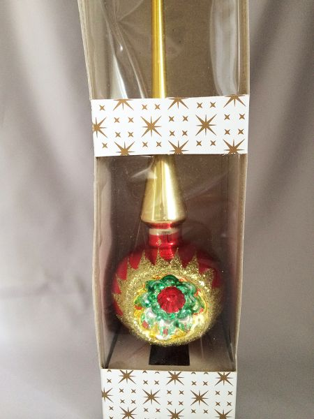 Iob Vintage German Glass Indent Tree Topper Christmas