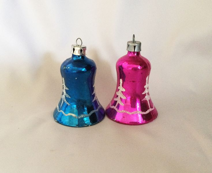 S vintage pair poland glass bell ornaments pink and