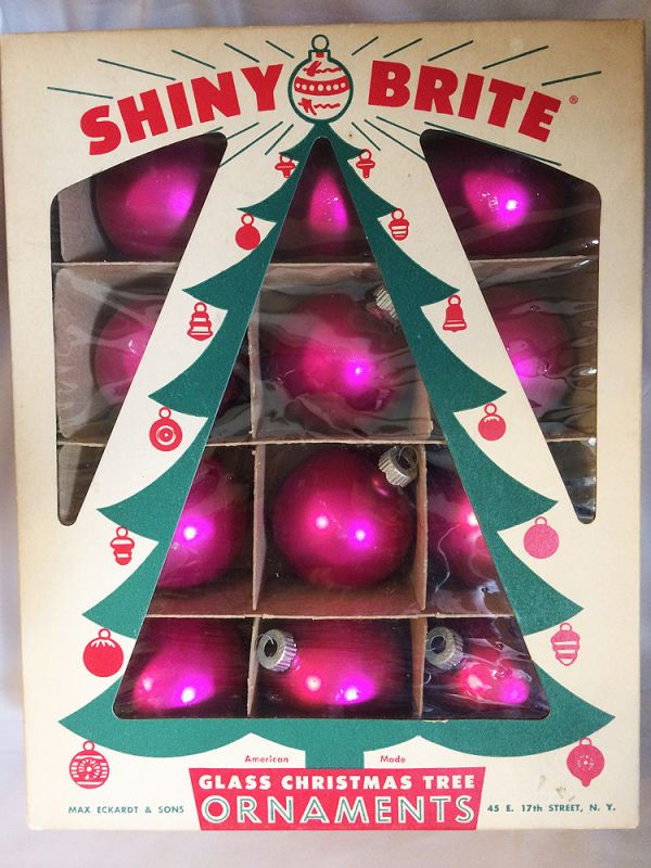 1950s vintage dozen shiny brite hot pink ornaments iob 12 vintage shiny brite hot pink - American Sales Christmas Decorations