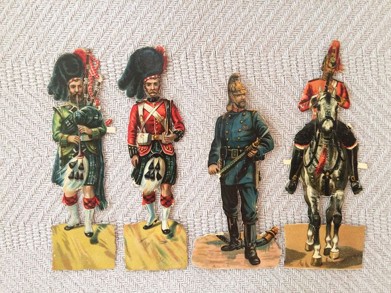 1880s german christmas ornament paper scrap four soldiers antique victorian christmas ornament paper scrap supplies