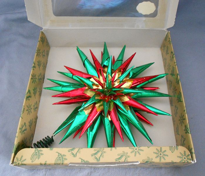 German Foil Star Tree Topper in Original Box in decorations
