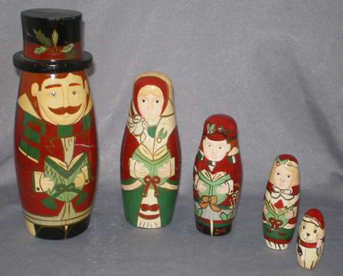 vintage christmas carolers russian nesting dolls with dog in x sold gallery