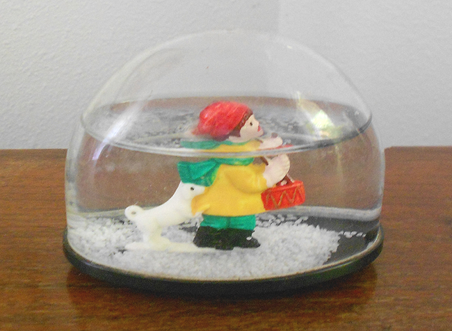 1970s Vintage Christmas Snow Globe With Drummer Boy And Dog In X Sold Gallery