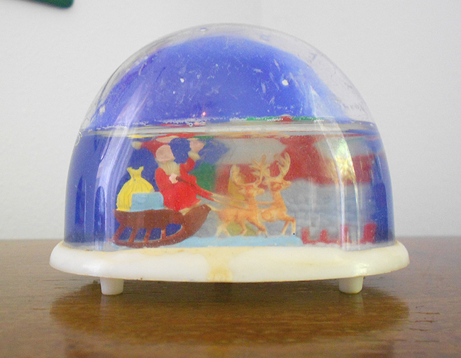 1960s Vintage Christmas Snow Globe With Santa And His