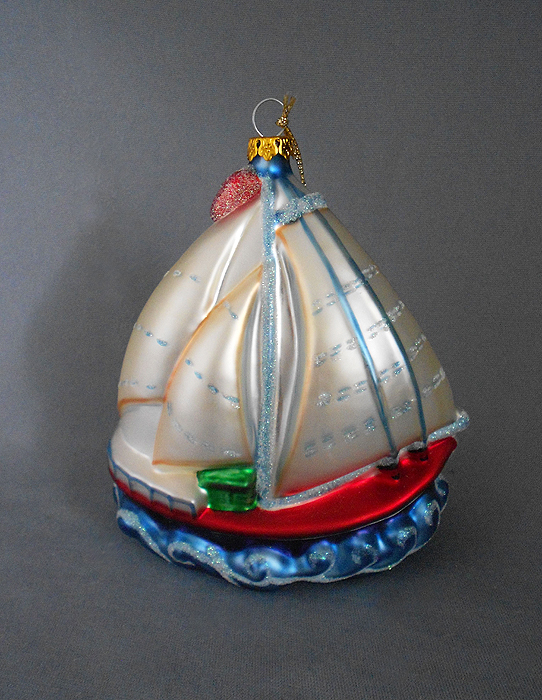 Perfect 1980s Vintage Extra Large Blown Glass Sailboat Christmas Ornament  HP63