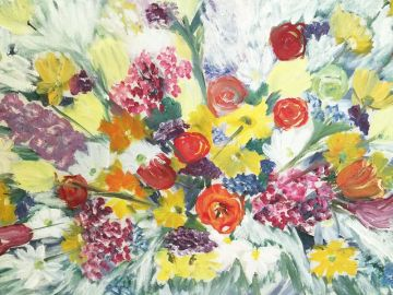 Original Mid Century Flower Painting, Colorful Acrylic Spring Bouquet with Tulips Lilac Daisies in paintings & posters
