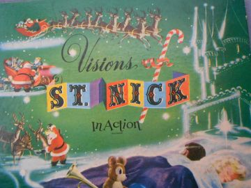 1950 'Visions of St. Nick in Action' 3D Pop-Up Book, First Edition Vintage Children's Christmas Book in children's