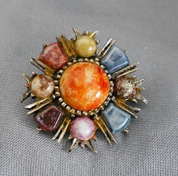 Vintage Celtic Brooch with Beautiful Art Glass Stones in brooches and pins