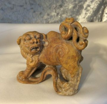Awesome Vintage Chinese Carved Stone Foo Dog Guardian Lion