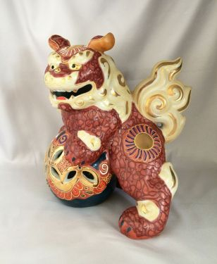 1980s Vintage Kutani Foo Dog Statue Gilt Moriage Porcelain Japanese Shishi Guardian Lion, Feng Shui Protection Statue in FOO DOG LIONS