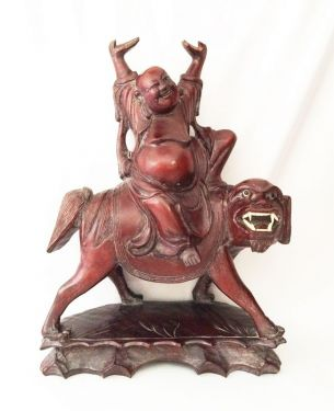1930s Antique Buddha Riding Foo Dog Hand Carved Chinese Rosewood Statue Sculpture in FOO DOG LIONS