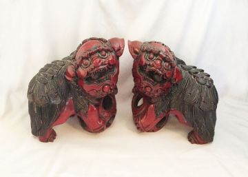 Antique Vintage Chinese Hand Carved Red Wood Foo Dogs with Puzzle Balls and Pearls, Vintage Foo Dog Pair, Chinese Guardian Lions, Vintage Mid Century Red Lacquer Statues in FOO DOG LIONS