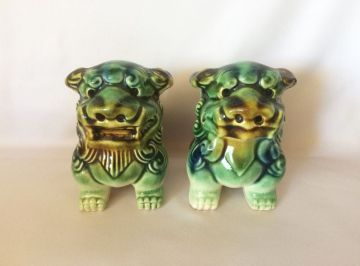 1980s Vingage Chinese Foo Dogs Blue and Green Ceramic Guardian Lions, Small Vintage Foo Fu Dogs, Asian Feng Shui Statues, Chinoserie Decor in FOO DOG LIONS