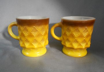 Wonderful Vintage 1950s Fire King Brown To Yellow Kimberly