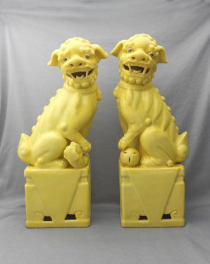 Fabulous Pair of Vintage 1950s Signed Yellow Ceramic Foo Dogs in HOME DECOR