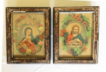 Late 1800s Antique Catholic Prints Jesus Mary German Lithography Hand Carved Frames, Antique Vintage Catholic Religious Art in ANTIQUES