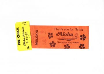 1993 Vintage ALOHA AIRLINES Boarding Pass, Molokai to Maui Paper Boarding Pass Flight 397, Vintage Hawaiiana, Vintage Airline Collectibles in HAWAIIANA