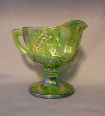 Indiana Glass Green Harvest Carnival Glass Creamer in GLASS