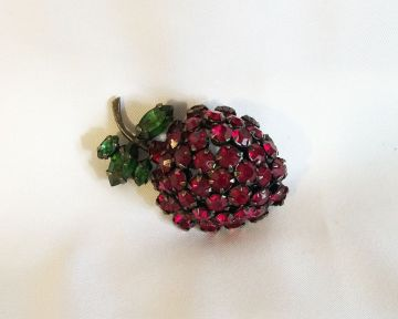 1950s Vintage Signed Schreiner Rhinestone Berry Fruit Brooch in brooches and pins