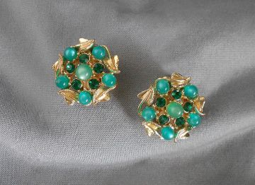 1950s-1960s Vintage Signed STAR Green Moonglow and Rhinestone Earrings in earrings