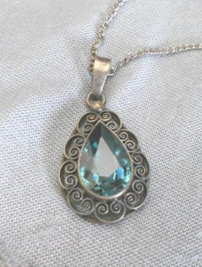 Vintage Sterling Silver Necklace with Large Aquamarine Pendant in necklaces and pendants