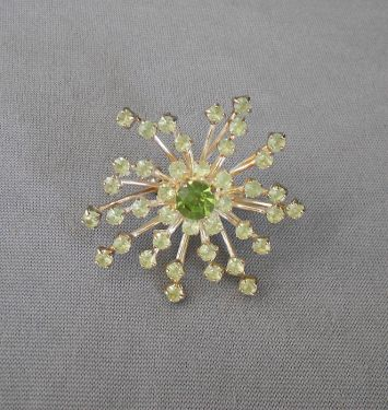 Vintage Green Rhinestone Snowflake Starburst Brooch in brooches and pins