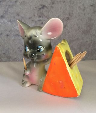 1970s Vintage Enesco Mouse with Cheese Toothpick Holder in miscellaneous